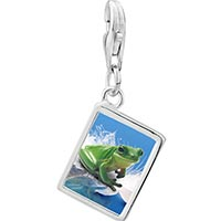 Link Charm Bracelet - 925  sterling silver surfing frog photo rectangle frame link charm Image.