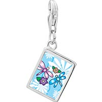 Link Charm Bracelet - 925  sterling silver dragonflies and flowers photo rectangle frame link charm Image.
