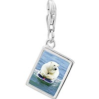 Link Charm Bracelet - 925  sterling silver boogie boarding polar bear photo rectangle frame link charm Image.