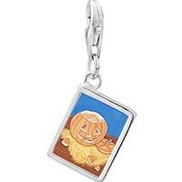 Link Charm Bracelet - 925  sterling silver jack olantern carving photo rectangle frame link charm Image.