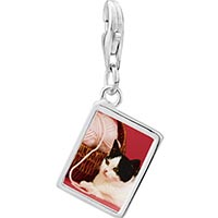 Link Charm Bracelet - 925  sterling silver cat with yarn photo rectangle frame link charm Image.