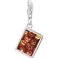 Link Charm Bracelet - 925  sterling silver jack o lanterns photo rectangle frame link charm Image.