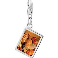 Link Charm Bracelet - 925  sterling silver november topaz color turkey photo rectangle frame link charm Image.