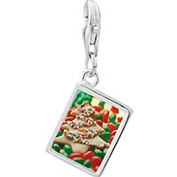Link Charm Bracelet - 925  sterling silver christmas tree cookie and candy photo rectangle frame link charm Image.