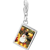 Link Charm Bracelet - 925  sterling silver snowman ornament photo rectangle frame link charm Image.