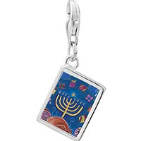 Link Charm Bracelet - 925  sterling silver hanukkah eight gifts photo rectangle frame link charm Image.