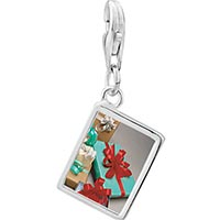 Link Charm Bracelet - 925  sterling silver holiday gifts photo rectangle frame link charm Image.