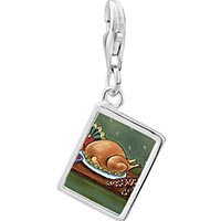 Link Charm Bracelet - 925  sterling silver thanksgiving food photo rectangle frame link charm Image.