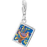 Link Charm Bracelet - 925  sterling silver partridge in a pear tree photo rectangle frame link charm Image.
