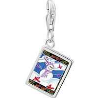 Link Charm Bracelet - 925  sterling silver festive snowman photo rectangle frame link charm Image.