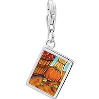 Link Charm Bracelet - 925  sterling silver autumn jack o lantern halloween pumpkin photo rectangle frame link charm Image.
