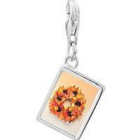 Link Charm Bracelet - 925  sterling silver autumn leaf wreath photo rectangle frame link charm Image.