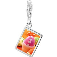 Link Charm Bracelet - 925  sterling silver eggs photo rectangle frame link charm Image.
