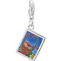 Link Charm Bracelet - 925  sterling silver basket photo rectangle frame link charm Image.