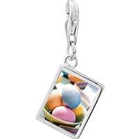 Link Charm Bracelet - 925  sterling silver bowl of easter eggs photo rectangle frame link charm Image.