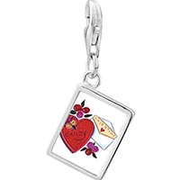 Link Charm Bracelet - 925  sterling silver valentines photo rectangle frame link charm Image.