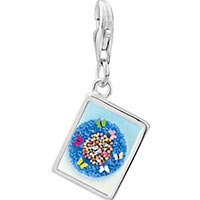 Link Charm Bracelet - 925  sterling silver world of butterflies photo rectangle frame link charm Image.