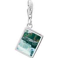 Link Charm Bracelet - 925  sterling silver waterfall paradise photo rectangle frame link charm Image.