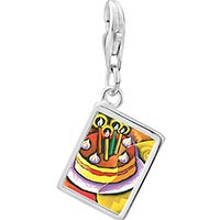 Link Charm Bracelet - 925  sterling silver cubist birthday cake photo rectangle frame link charm Image.