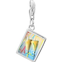 Link Charm Bracelet - 925  sterling silver champagne party photo rectangle frame link charm Image.