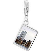Link Charm Bracelet - 925  sterling silver new york twin towers photo rectangle frame link charm Image.