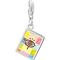 Link Charm Bracelet - 925  sterling silver eye symbol photo rectangle frame link charm Image.