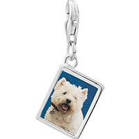 Link Charm Bracelet - 925  sterling silver west highland terrier photo rectangle frame link charm Image.