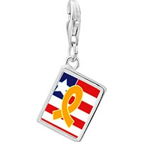 Link Charm Bracelet - 925  sterling silver usa flag &  yellow ribbon photo rectangle frame link charm Image.