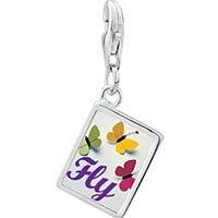 Link Charm Bracelet - 925  sterling silver butterfly fly photo rectangle frame link charm Image.