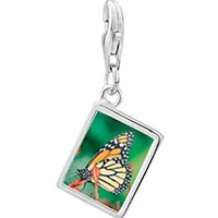 Link Charm Bracelet - 925  sterling silver butterfly close up photo rectangle frame link charm Image.