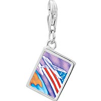 Link Charm Bracelet - 925  sterling silver usa flag plane photo rectangle frame link charm Image.