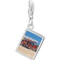 Link Charm Bracelet - 925  sterling silver fire truck photo rectangle frame link charm Image.