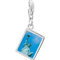 Link Charm Bracelet - 925  sterling silver statue of liberty photo rectangle frame link charm Image.