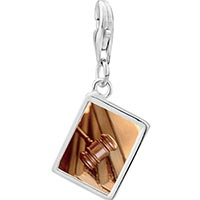 Link Charm Bracelet - 925  sterling silver law gavel photo rectangle frame link charm Image.