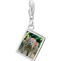 Link Charm Bracelet - 925  sterling silver australia kangaroo photo rectangle frame link charm Image.