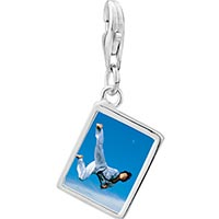 Link Charm Bracelet - 925  sterling silver karate kick photo rectangle frame link charm Image.