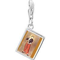 Link Charm Bracelet - 925  sterling silver manet' s art the fifer photo rectangle frame link charm Image.