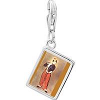 Link Charm Bracelet - 925  sterling silver manet' s art the fifer photo rectangle frame link charm Image.