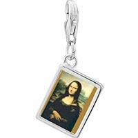 Link Charm Bracelet - 925  sterling silver da vinci' s art mona lisa photo rectangle frame link charm Image.