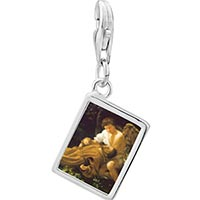 Link Charm Bracelet - 925  sterling silver caravaggio' s stigma photo rectangle frame link charm Image.