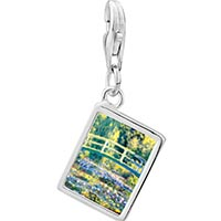 Link Charm Bracelet - 925  sterling silver bridge at giverny photo rectangle frame link charm Image.