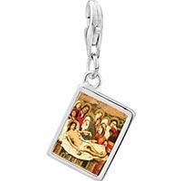 Link Charm Bracelet - 925  sterling silver the entombment of christ photo rectangle frame link charm Image.