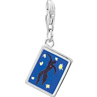 "Link Charm Bracelet - 925  sterling silver icarus from "" jazz""  photo rectangle frame link charm Image."