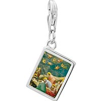 Link Charm Bracelet - 925  sterling silver the mourning of christ art photo rectangle frame link charm Image.