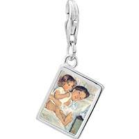 Link Charm Bracelet - 925  sterling silver mary cassatt' s breakfast in bed photo rectangle frame link charm Image.