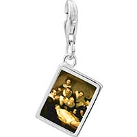 Link Charm Bracelet - 925  sterling silver the anatomy lecture rembrandt art photo rectangle frame link charm Image.