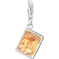 Link Charm Bracelet - 925  sterling silver mucha' s poetry photo rectangle frame link charm Image.