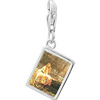Link Charm Bracelet - 925  sterling silver the lady of shallot photo rectangle frame link charm Image.