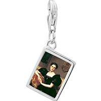 Link Charm Bracelet - 925  sterling silver mrs.  john j.  chapman photo rectangle frame link charm Image.