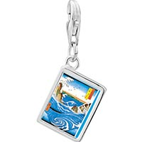 Link Charm Bracelet - 925  sterling silver hiroshige' s navaro rapids photo rectangle frame link charm Image.